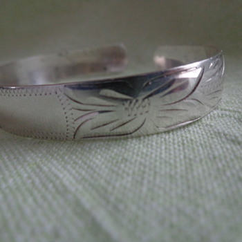 Birks Engraved Vintage Sterling Bangle