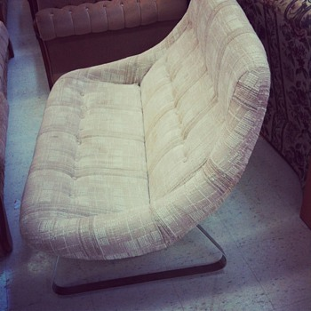 Mod 1960&#039;s Love seat with Chrome plated legs