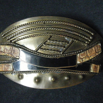 Large Enameled Vintage Croc skin + solid brass African Belt buckle