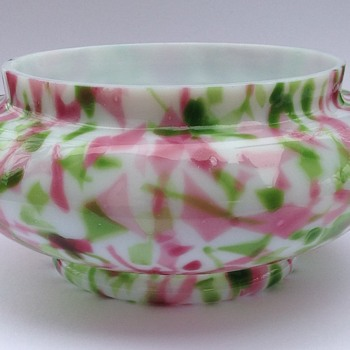 Pink and green spatter vase/conserve pot.