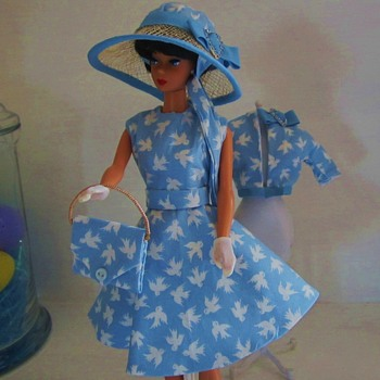 Handmade Vintage Barbie Silkstone Fashion Blue Birds Dress and Hat by Kim