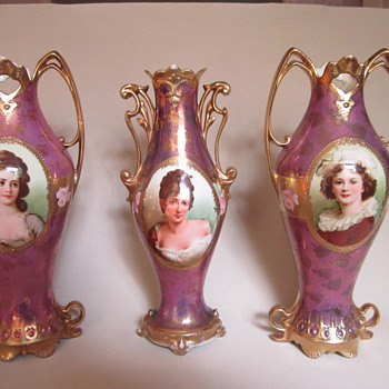 RS Prussia vases, marked &quot;Royal Vienna/Germany&quot; ca. 1904