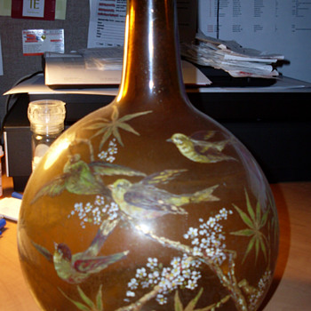 Hand Painted Antique Glass Bottle - Bottles
