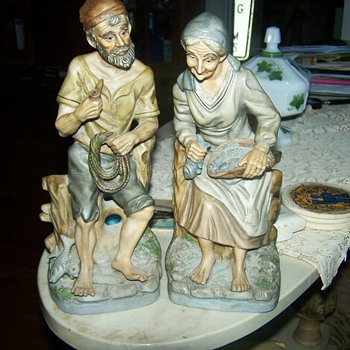 Old Man &amp;Woman Figures - Art Pottery