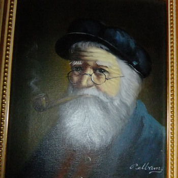 David Pelbam - Pellam painting on canvas of Old man with pipe
