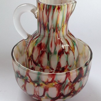 Welz honeycomb spatter glass miniature jug & basin set - Art Glass