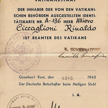WW2 Vatican & German travel permit