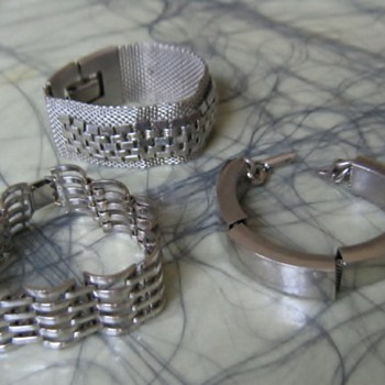 Rail  & mesh silvertone 50's-60's bracelets