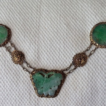 Chinese silver gilt filigree Jadeite necklace