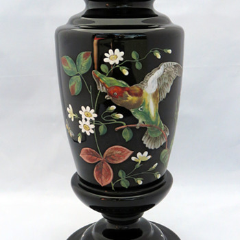 Large Harrach Basalt Hyalith Parrot Vase - Art Glass