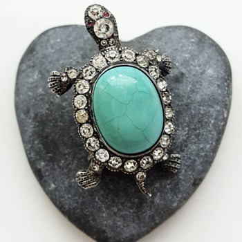 Antique tortoise 925 silver, turquoise, pastes brooch. The mysterious maker again! - Fine Jewelry