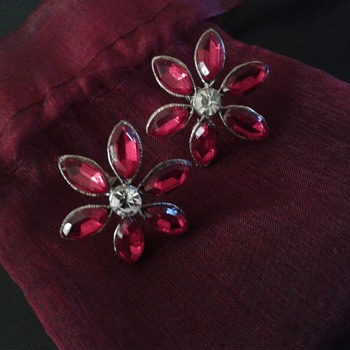 May Co. Poinsettia Screwback Earrings - Costume Jewelry