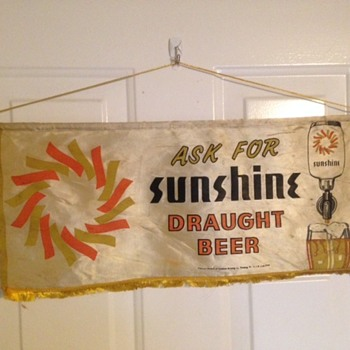 Sunshine Beer Silk Banner - Breweriana