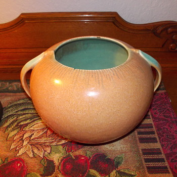 Nice Design Orange and Turquoise Pottery Bowl - Art Pottery