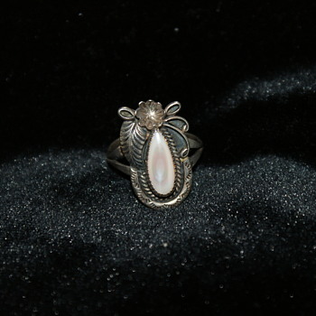 Sterling Silver and Mother of Pearl Native American Ring A Cadman