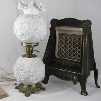 Neat Pick on Vintage Lamp &amp; Antique Gas Heater - Lamps