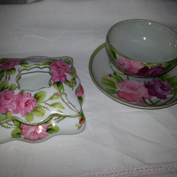 Hand Painted Nippon Hair Receiver - China and Dinnerware