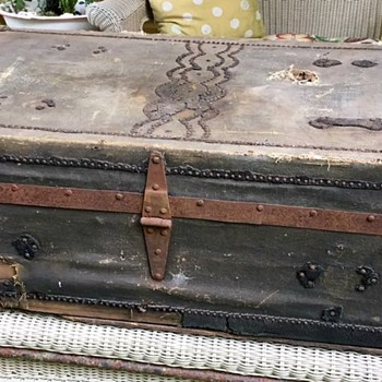 Canvas and Leather Wooden Trunk