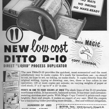 1954 - Ditto Spirit Duplicator Advertisement