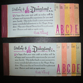 4 Vintage Disneyland Ticket Books   &quot;Disneyana&quot; 