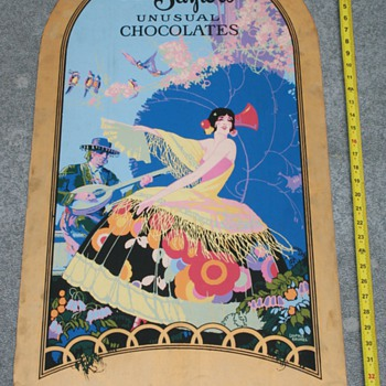 Miss Saylor's Unusual Chocolates Ad Sign 1920's - Signs