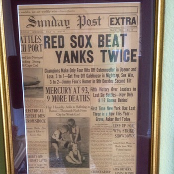 BOSTON RED SOX Beat NEW YORK YANKEES July 9 1939 News Paper  - Baseball