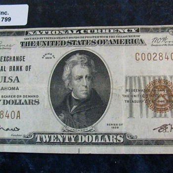 """The Exchange National Bank of Tulsa Oklahoma"", Charter No. 9658. Type 2 , VF +.  & Very Rare........."