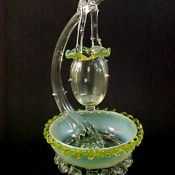 Antique Victorian Green Opalescent Art Glass Bowl with Branch & Thorn Basket - Art Glass
