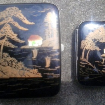 Cigarette case with matching  Wooden Matches Case - Tobacciana