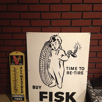 "Early Porcelain Fisk Sign 36"" x 28"" Rare"