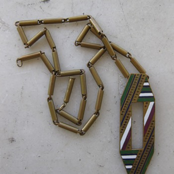 Art deco enamel bronze necklace - Art Deco