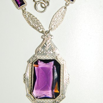 Vintage Antique Deco Amethyst Paste Filigree Sterling Lavaliere Necklace - Fine Jewelry