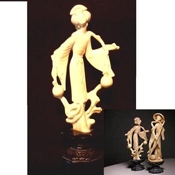 """Santini"" Italy Composite Resin ""Ivorine"" Oriental Figurine / Circa 20th Century - Figurines"