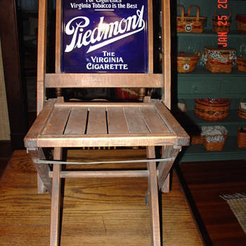 Early 1900's Piedmont Tobacco Folding Chair - Signs