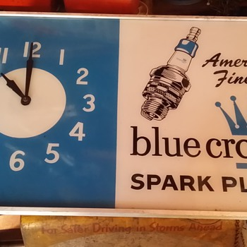 Personal Collection: Blue Crown Spark Plug clock - Advertising