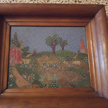 Primitive fabric scraps picture - Folk Art