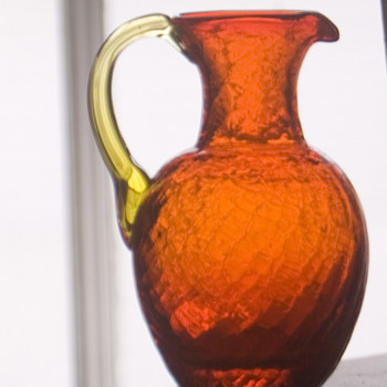 Vintage Blenko Crackle Glass Mini  Pitcher pitcher - Art Glass