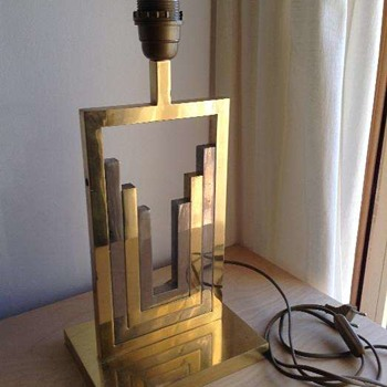 Brass and unknown metal table lamp