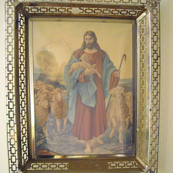 Jesus and Lambs Religious Art  - Posters and Prints