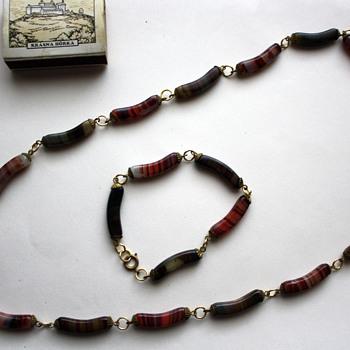 Necklace + bracelet, glass curved beads