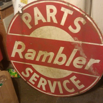 RAMBLER PARTS AND SERVICE SIGN 42&quot; ROUND TWO SIDED - Signs