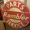 "RAMBLER PARTS AND SERVICE SIGN 42"" ROUND TWO SIDED"