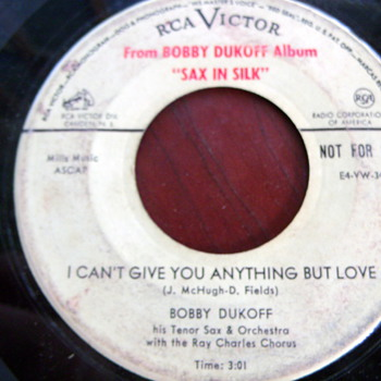 "1956 Bobby Dukoff w/ Ray Charles Chorus ""Sax in Silk singles"" promo 45rpm - Records"