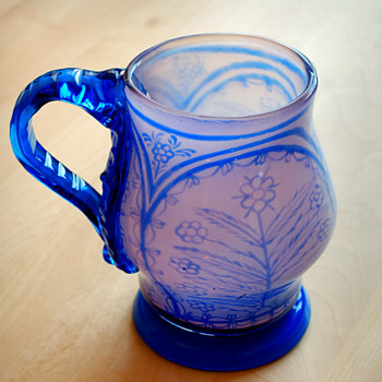 Early GRAAL tankard glass, Knut Bergqvist Orrefors 1916.