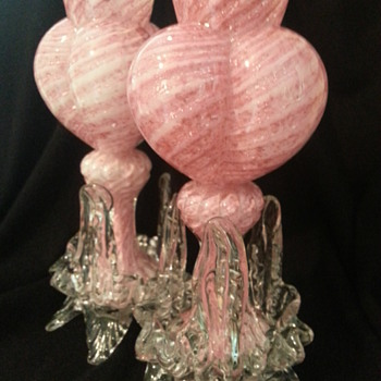 Bohemian Pink/ Silver Mica Tri-Lobed Vases - Art Glass