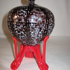 Czech Deco Export Glass 1930's Gorgeous Covered Candy dish Red Strutted Base Czechoslovakia
