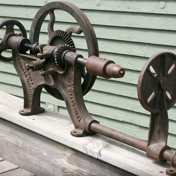 Vintage Primitive Champion Blower & Forge Co Hand Crank Post Wall Drill Press  - Tools and Hardware