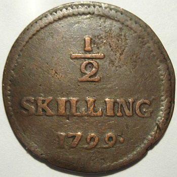 1799 Danish 1/2 Skilling Love Token - Folk Art