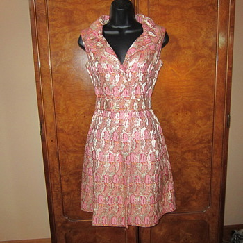 Pink metallic lame 60's dress