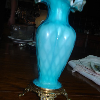 Mother of pearl satin glass ruffled vase
